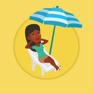 Woman sitting in a beach chair. Woman resting on holiday while sitting under umbrella on a beach chair. Woman relaxing on beach. Vector flat design illustration in the circle isolated on background.