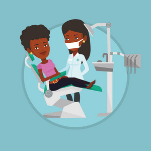 Woman sitting in dental chair while dentist standing nearby. Doctor and patient in dental clinic. Patient on reception at dentist. Vector flat design illustration in the circle isolated on background.