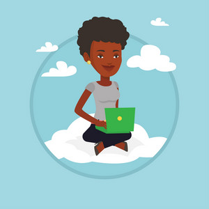 Woman sitting on a cloud with laptop. Woman using cloud computing technology. Woman working on computer. Cloud computing concept. Vector flat design illustration in the circle isolated on background.