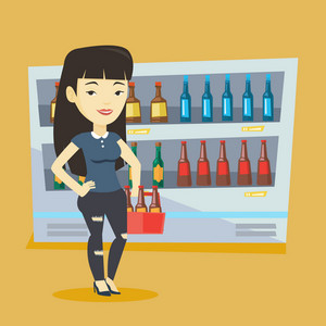 Woman standing in alcohol store with pack of beer on the background of refrigerator with bottles. Girl buying beer. Beer lover holding pack with bottles. Vector flat design illustration. Square layout