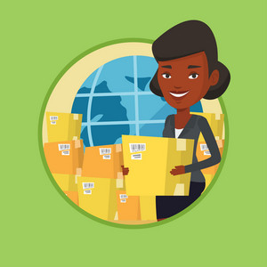 Woman standing on the background of globe and boxes. Woman working in international delivery service. International delivery concept. Vector flat design illustration in circle isolated on background.