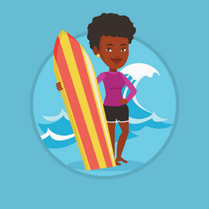 Woman standing with a surfboard on the beach. Surfer with a surf board on the beach. Surfer standing on the background of sea wave. Vector flat design illustration in the circle isolated on background