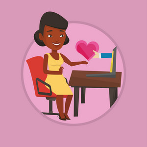 Woman using laptop and dating online. Woman looking for online date on the internet. Woman dating online and getting love message. Vector flat design illustration in the circle isolated on background.