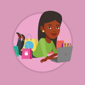 Woman using laptop for online shopping. Woman lying with laptop and making online shopping order. Woman doing online shopping. Vector flat design illustration in the circle isolated on background.