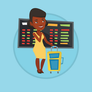 Woman waiting for a flight at the airport. Passenger with suitcase standing at the airport on the background of departure board. Vector flat design illustration in the circle isolated on background.