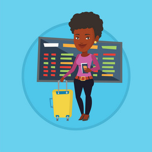 Woman waiting for a flight in airport. Passenger holding passport and airplane ticket. Woman with suitcase standing at the airport. Vector flat design illustration in the circle isolated on background