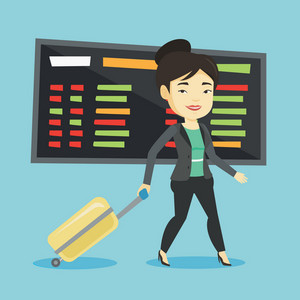 Woman walking at the airport. Passenger with suitcase walking on the background of schedule board at the airport. Woman pulling suitcase in airport. Vector flat design illustration. Square layout.