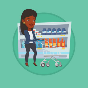 Woman walking with cart on aisle at supermarket. Woman pushing an empty supermarket cart. Woman shopping at supermarket with cart. Vector flat design illustration in the circle isolated on background.