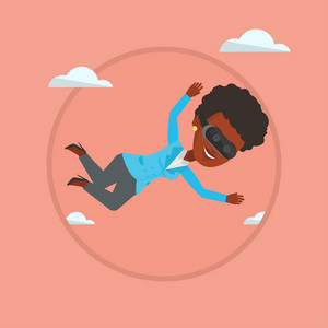 Woman wearing virtual reality headset and flying in the sky. Woman in vr device playing videogame. Woman flying in virtual reality. Vector flat design illustration in the circle isolated on background