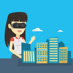 Woman wearing virtual reality headset and getting into vr world. Woman using virtual reality glasses for development of the project of city architecture. Vector flat design illustration. Square layout