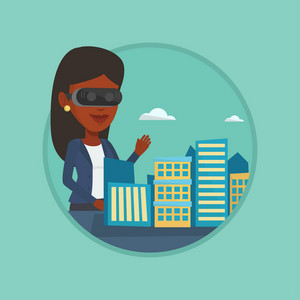 Woman wearing vr headset and getting into vr world. Woman using vr glasses for development of the project of city architecture. Vector flat design illustration in the circle isolated on background.