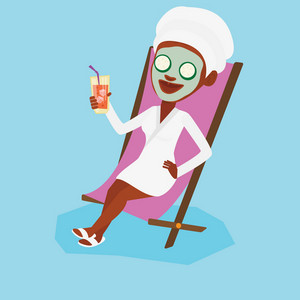Woman with beauty mask and towel on her head lying in chaise lounge and drinking cocktail. Woman relaxing in beauty salon. Girl having beauty treatments. Vector flat design illustration. Square layout