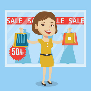 Woman with shopping bags in front of clothes shop display window and sale sign. Woman with shopping bags in front of window display with text sale. Vector flat design illustration. Square layout.