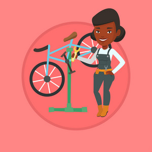 Woman working in bike workshop. Technician fixing bicycle. Bicycle mechanic repairing bicycle and installing spare part bike. Vector flat design illustration in the circle isolated on background.
