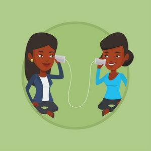 Women discussing something using tin can phone. Woman getting message from friend on tin can phone. Girls talking through tin phone Vector flat design illustration in the circle isolated on background
