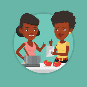 Women following recipe for healthy vegetable meal on digital tablet. Women cooking healthy meal. Women having fun cooking together. Vector flat design illustration in the circle isolated on background