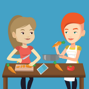 Women having fun cooking together healthy meal. Young smiling women preparing vegetable meal. Caucasian happy women cooking healthy vegetable meal. Vector flat design illustration. Square layout.