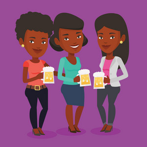 Women toasting and clinking glasses of beer. An african women clanging glasses of beer. Women drinking beer. Vector flat design illustration. Square layout.