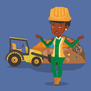Worker of rubbish dump standing with spread arms. Woman standing on the background of rubbish dump and bulldozer. An african worker of rubbish dump. Vector flat design illustration. Square layout