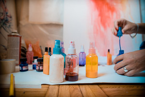 working tools of the painter in the studio