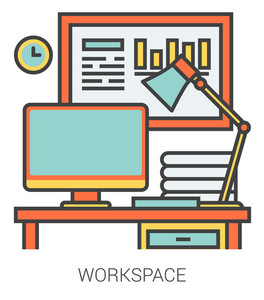 Workplace infographic metaphor with line icons. Workplace concept for website and infographics. Vector line art icon isolated on white background.