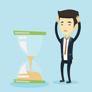 Worried asian business man looking at hourglass symbolizing deadline. Business man worrying about deadline terms. Time management and deadline concept. Vector flat design illustration. Square layout.