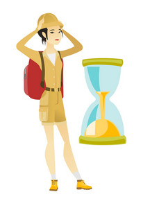 Worried asian traveler woman clutching her head while looking at hourglass. Ttraveler woman concerned by the end of countdown of hourglass. Vector flat design illustration isolated on white background