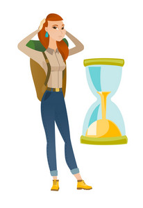 Worried caucasian traveler woman clutching head while looking at hourglass. Ttraveler woman concerned by the end of countdown of hourglass. Vector flat design illustration isolated on white background