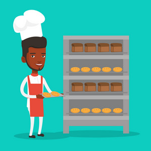 Young african-american baker holding tray of bread in the bakery. Confident male baker standing near bread rack. Smiling baker holding baking tray. Vector flat design illustration. Square layout.