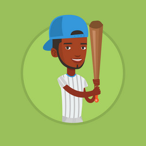 Young african-american baseball player in uniform. Baseball player standing with a bat. Professional baseball player in action. Vector flat design illustration in the circle isolated on background.