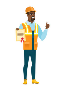 Young african-american builder holding a certificate. Full length of builder with certificate. Builder showing certificate and thumbs up. Vector flat design illustration isolated on white background.