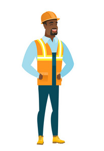 Young african-american builder laughing. Builder laughing with hands on his stomach. Builder laughing with closed eyes and open mouth. Vector flat design illustration isolated on white background.