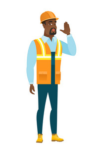 Young african-american builder lost and calling for help. Full length of builder calling for help. Builder in trouble calling for help. Vector flat design illustration isolated on white background.