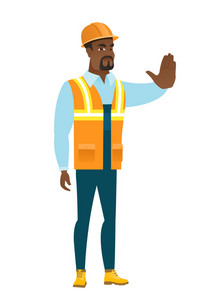 Young african-american builder showing stop hand gesture. Full length of builder doing stop gesture. Serious builder with a stop gesture. Vector flat design illustration isolated on white background.