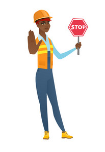 Young african-american builder showing stop road sign. Full length of builder holding stop road sign. Serious builder with stop road sign. Vector flat design illustration isolated on white background.