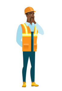 Young african-american builder thinking. Full length of thinking builder with hand on chin. Builder thinking and looking to the side. Vector flat design illustration isolated on white background.
