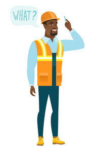 Young african-american builder with question what in speech bubble. Full length of smiling builder with text what in speech bubble. Vector flat design illustration isolated on white background.