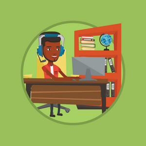 Young african-american business man during video conference in office. Business man wearing headset and working on a computer. Vector flat design illustration in the circle isolated on background.