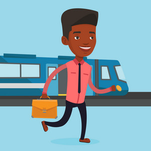 Young african-american business man walking on the train platform. Business man going out of train. Happy business man walking on the train station. Vector flat design illustration. Square layout.