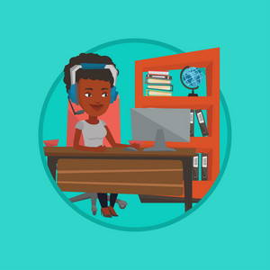 Young african-american business woman during video conference in office. Business woman wearing headset and working on a computer. Vector flat design illustration in the circle isolated on background.