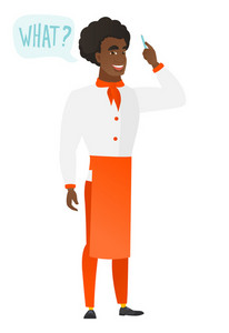 Young african-american chef cook in uniform with question what in speech bubble. Full length of chef cook with text what in speech bubble. Vector flat design illustration isolated on white background.