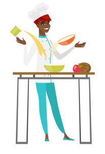 Young african-american chef cook preparing food. Chef cook preparing meal in the kitchen. Chef cook in uniform preparing food for dinner. Vector flat design illustration isolated on white background.