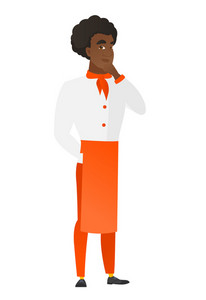 Young african-american chef cook thinking. Full length of thinking chef cook with hand on chin. Chef cook thinking and looking to the side. Vector flat design illustration isolated on white background