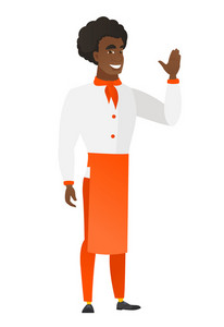 Young african-american chef cook waving his hand. Full length of chef cook waving hand. Chef cook making greeting gesture - waving hand. Vector flat design illustration isolated on white background.