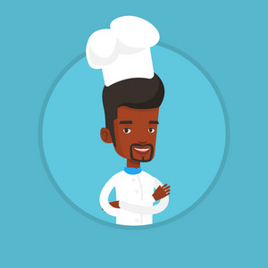 Young african-american chef cooker. Smiling chief cooker in uniform and hat standing with arms crossed. Confident chief cooker. Vector flat design illustration in the circle isolated on background.