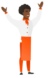 Young african-american chief-cooker standing with raised arms up. Full length of chief-cooker in uniform celebrating with raised arms up. Vector flat design illustration isolated on white background.