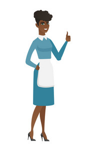Young african-american cleaner in uniform giving thumb up. Full length of smiling female cleaner with thumb up. Cleaner showing thumb up. Vector flat design illustration isolated on white background.