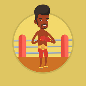 Young african-american confident sportsman in boxing gloves. Boxer standing in the boxing ring. Sportsman wearing boxing gloves. Vector flat design illustration in the circle isolated on background.