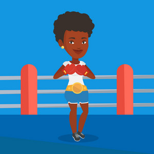 Young african-american confident sportswoman in boxing gloves. Professional boxer standing in the boxing ring. Sportive woman wearing red boxing gloves. Vector flat design illustration. Square layout.