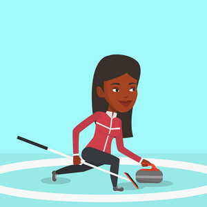 Young african-american curling player with stone and broom on a rink. Female curling player delivering a stone. Curling player sliding over the ice. Vector flat design illustration. Square layout.